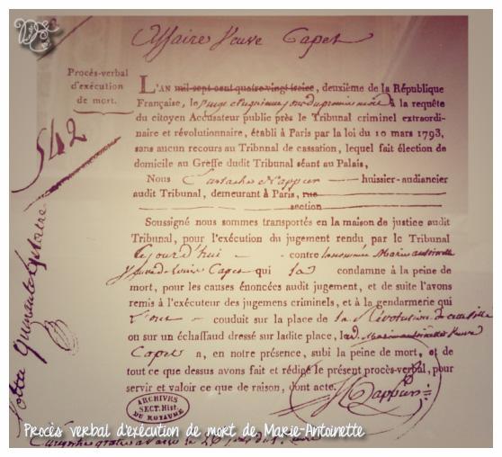Procès verbal éxecution de Marie-Antoinette