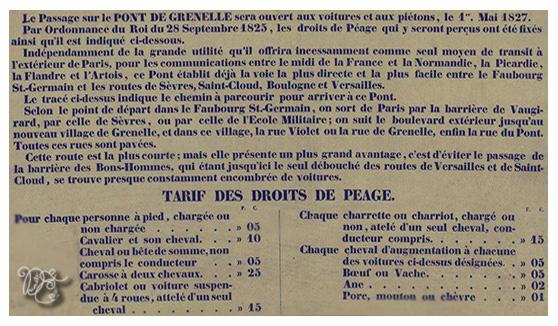 Tarification des droits de péage du Pont de Grenelle  1er mai 1827