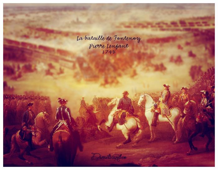 Louis XV accompagné du dauphin, donnant des ordres au maréchal de Saxe.