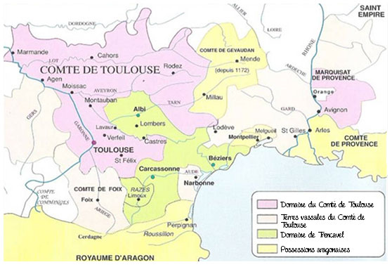 Carte du Midi féodal en 1209