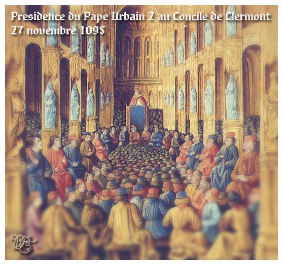 Pape Urbain II préside le Concile de Clermont