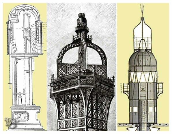 Le campanile et le phare de la Tour Eiffel, coupe verticale du sommet