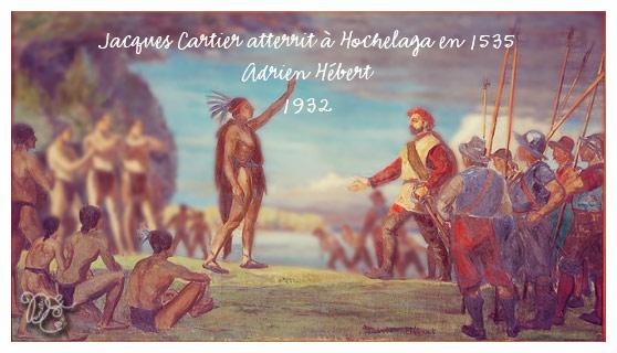 Jacques Cartier atterrit à Hochelaga en 1535 par Adrien Hébert