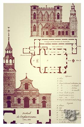 Façade de la première église Notre-Dame dessinée par ...