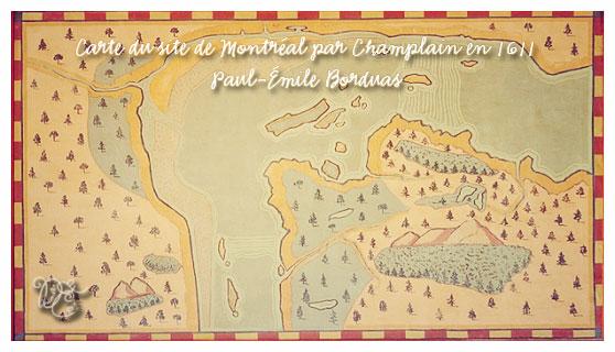 Carte du site de Montréal par Champlain en 1611 par Paul-Émile Borduas