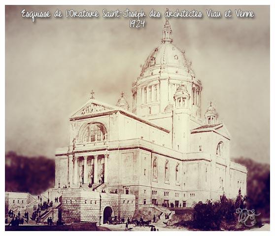 Esquisse de l'Oratoire St-Joseph en 1924, Montréal