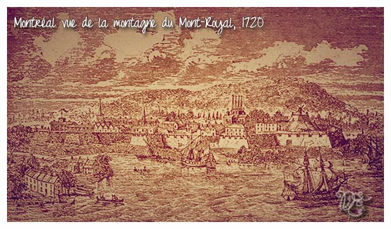 Montréal vu de la montagne du Mont-Royal en 1720