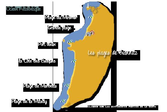Carte des plages de Biarritz